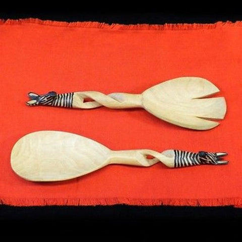 Hand-Carved Zebra Salad Tongs Handmade and Fair Trade
