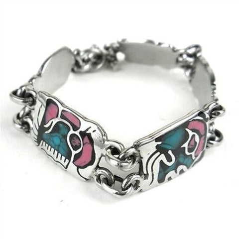 Mayan Glyph Colorful Link Bracelet in Alpaca Silver Handmade and Fair Trade