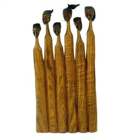 8-inch Sandalwood Extended Family Sculpture Handmade and Fair Trade