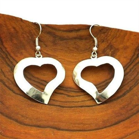 Silver Heart Earrings Large Handmade and Fair Trade