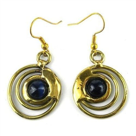 Concentric Dark Blue Tiger Eye Brass Earrings Handmade and Fair Trade