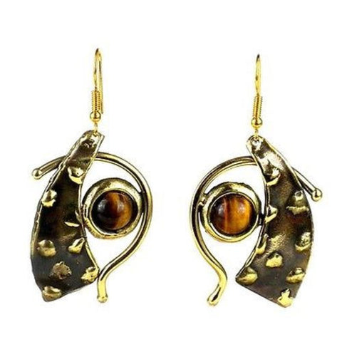 Tucked Tiger Eye Brass Earrings Handmade and Fair Trade