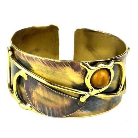 Symphony Tiger Eye Brass Cuff Handmade and Fair Trade