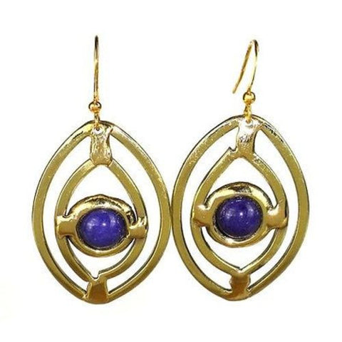 Purple Ellipse Brass Earrings Handmade and Fair Trade