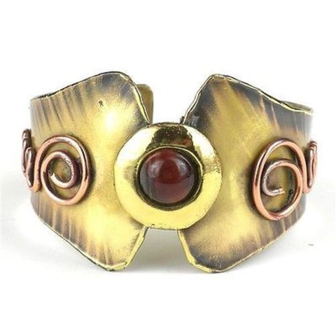 Red Tiger Eye Brass and Copper Cuff Handmade and Fair Trade
