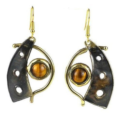 Golden Tiger Eye Domino Earrings Handmade and Fair Trade