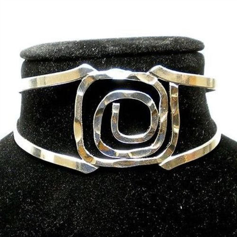 Silver Overlay Hammered Rectangular Spiral Cuff Bracelet Handmade and Fair Trade