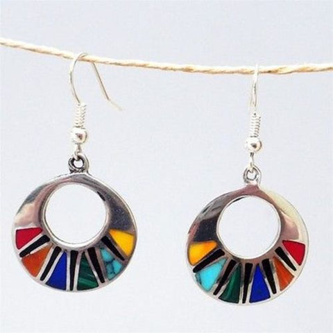 Mosaic Flat Hoop Earrings Handmade and Fair Trade