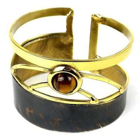 Tiger Eye Rectangle Brass Cuff Handmade and Fair Trade