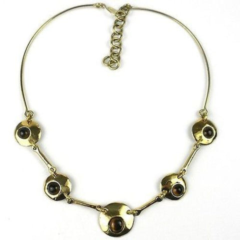 Bonbon Gold Tiger Eye Necklace Handmade and Fair Trade