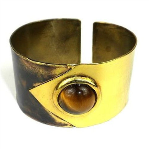 "Tiger Eye ""To the Point"" Brass Cuff Handmade and Fair Trade"