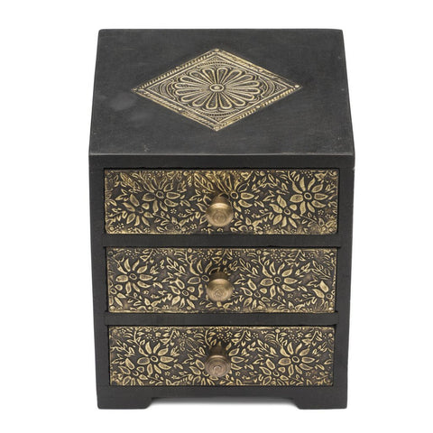 Golden Metal and Wood Keepsake Box - Matr Boomie (B)