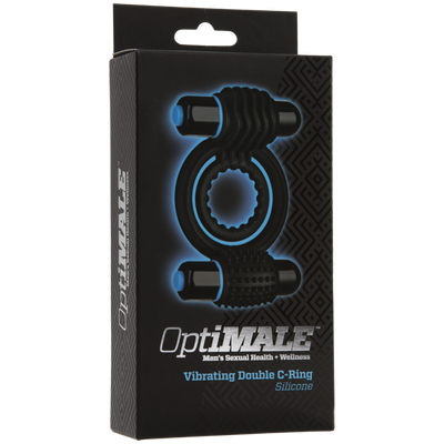 Doc Johnson - Optimale Vibrating Double Cock Ring (Black) Silicone Cock Ring (Vibration) Non Rechargeable PleasureHobby