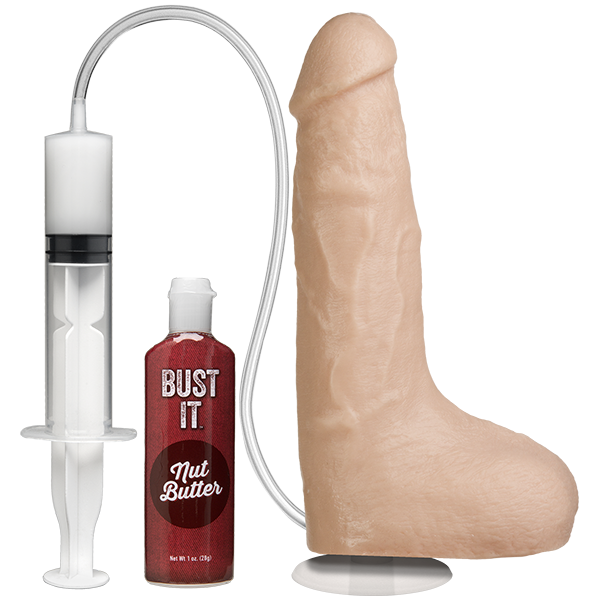 "Doc Johnson - Bust It Squirting Realistic 8.5"" Cock with Balls (Beige) - PleasureHobby"