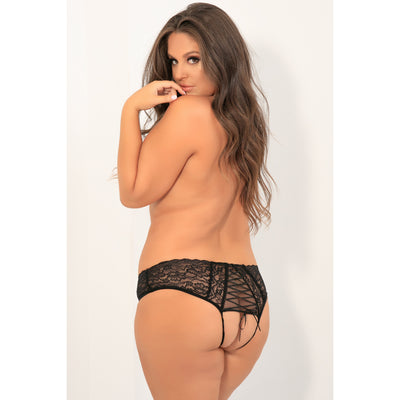 Rene Rofe - All Tied Up Open Back Panty 3X/4 (Black) Lingerie (Non Vibration) PleasureHobby