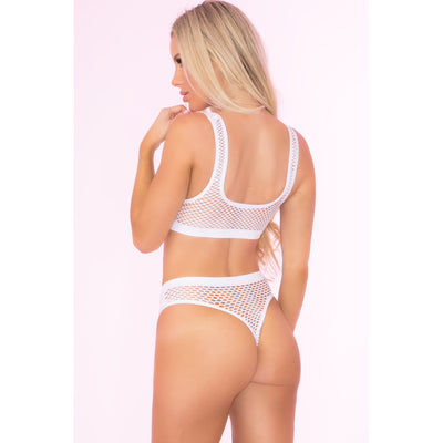 Pink Lipstick - Clothing Optional 2 Pieces Lingerie Set OS (White)