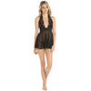 Rene Rofe - Sexiest Halter Chemise with G String Set S (Black)