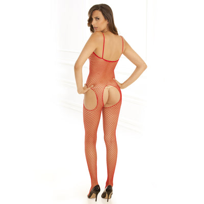 Rene Rofe - Industrial Net Suspender Bodystocking Costume OS (Red)