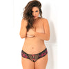 Rene Rofe - Crotchless Lace Thong with Bows 3X/4 (Black) Crotchless Panties PleasureHobby
