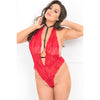 Rene Rofe - Front Focus Choker Teddy Costume 1X/2 (Red) Costumes PleasureHobby