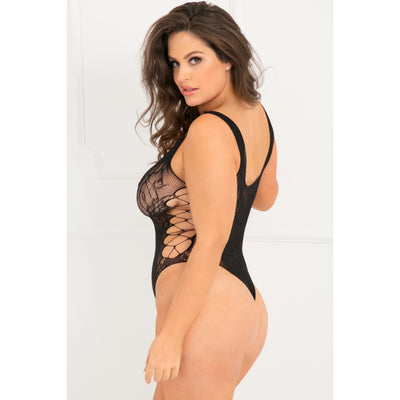 Rene Rofe - Laced Up Sexy Bodysuit Costume Queen (Black)