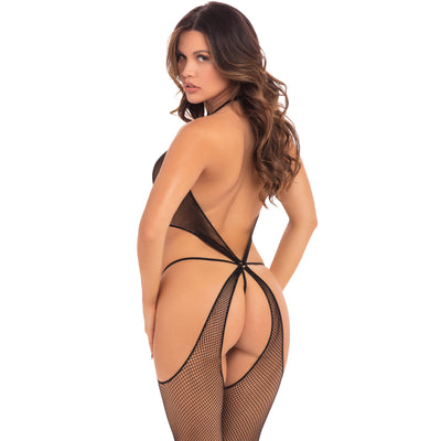 Pink Lipstick - Sin Central Net Bodystocking Costume OS (Black)