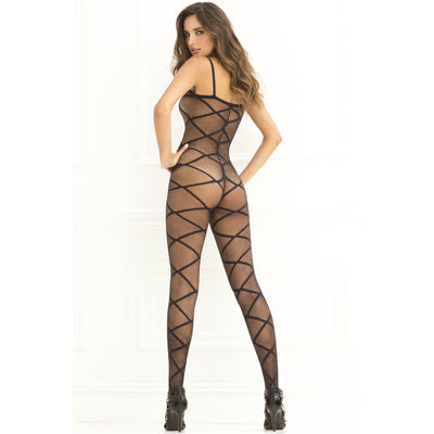 Rene Rofe - Strapped Up Sheer Bodystocking Costume OS (Black)