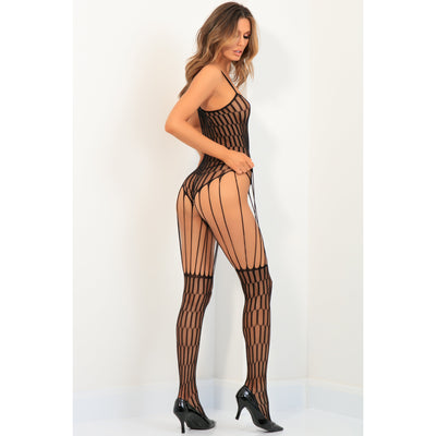 Rene Rofe - String Me Up Bodystocking Costume OS (Black)