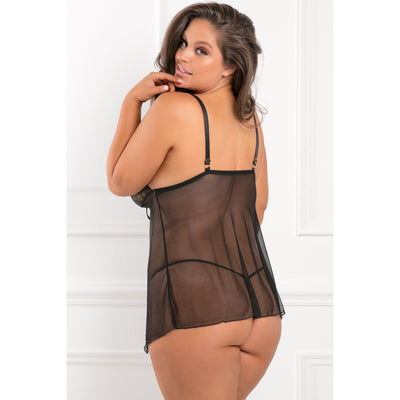Rene Rofe - Playful Paradise Chemise Set 1X/2 (Black)