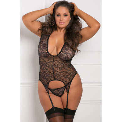 Rene Rofe - Finest Of All Garter Chemise 1X/2 (Black) Chemises PleasureHobby