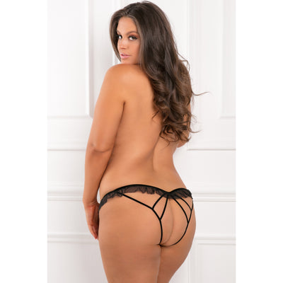 Rene Rofe - All Access Crotchless Panty 3X/4 (Black) Crotchless Panties PleasureHobby