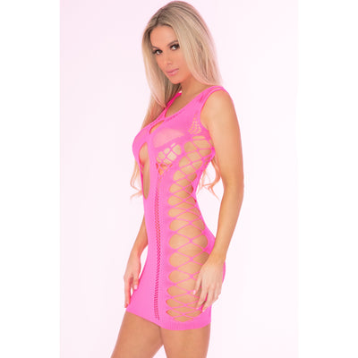 Pink Lipstick - Full Of Shred Mini Dress Costume OS (Pink) Costumes PleasureHobby