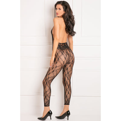 Rene Rofe - Lacy Movie Bodystocking Costume OS (Black)