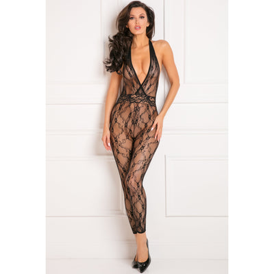 Rene Rofe - Lacy Movie Bodystocking Costume OS (Black) Costumes PleasureHobby