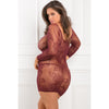 Rene Rofe - Tie Breaker Long Sleeve Dress Costume Queen (Burgundy)