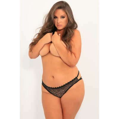 Rene Rofe - No Restriction Crotchless Panty 1X/2 (Black)
