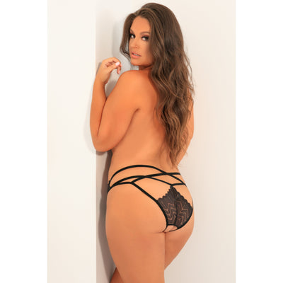 Rene Rofe - No Restriction Crotchless Panty 3X/4 (Black) Crotchless Panties PleasureHobby