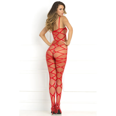 Rene Rofe - Strapped Up Sheer Bodystocking Costume OS (Red)