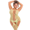 Pink Lipstick - Fake News Bodystocking Costume Queen (Yellow) Costumes PleasureHobby