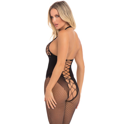 Pink Lipstick - Sister Of Mercy Bodystocking Costume OS (Black)