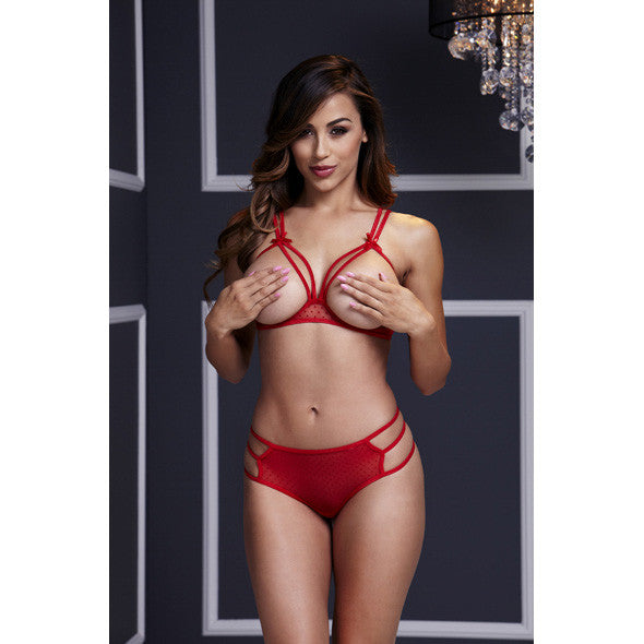 Baci - Red Strappy Open Cup Bra Set & Panty One Size - PleasureHobby