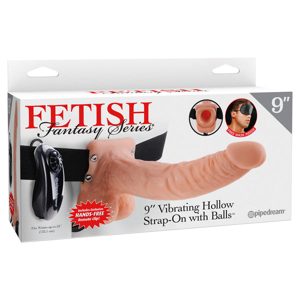 "Pipedream - Fetish Fantasy Series Vibrating Hollow Strap-On With Balls 9"" (Flesh) - PleasureHobby"