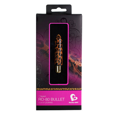 RocksOff - 7 Speed RO-80mm Bullet Vibrator (Leopard Print) - PleasureHobby