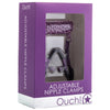 Shots - Ouch! Adjustable Nipple Clamps With Chain (Purple) Nipple Clamps (Non Vibration) PleasureHobby