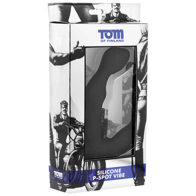Tom of Finland - Silicone P Spot Vibrator (Black) Prostate Massager (Vibration) Non Rechargeable PleasureHobby