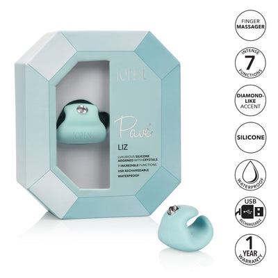 Calexotics - Pave Vibrating Silicone Finger Massager Liz (Blue) Clit Massager (Vibration) Rechargeable PleasureHobby