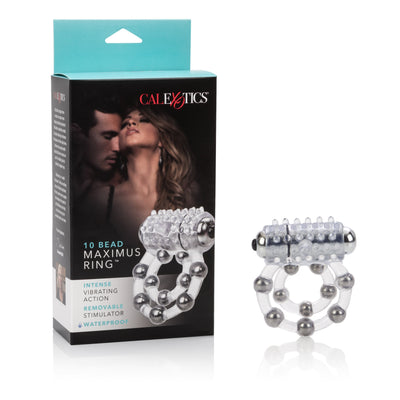California Exotics - 10 Bead Maximus Cock Ring (White) Rubber Cock Ring (Vibration) Non Rechargeable PleasureHobby