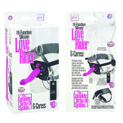 California Exotics - 10 Function Silicone Love Rider G Caress Strap On Dildo (Pink) | CherryAffairs Singapore