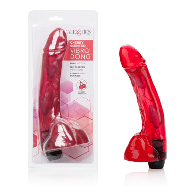 California Exotics - Cherry Scented Vibro Dong Vibrator (Red) Non Realistic Dildo w/o suction cup (Vibration) Non Rechargeable PleasureHobby