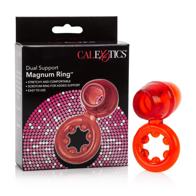 California Exotics - Dual Support Magnum Cock Ring (Red) Rubber Cock Ring (Non Vibration) PleasureHobby